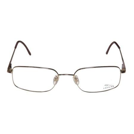 New Jaguar 3046 Mens Designer Full Rim Gold   Brown Frame Demo Lenses 56 18 145 Flexible Hinges Eyeglasses Eye Glasses