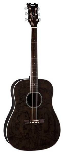 "Dean AX DQA TBK Axs Dread Quilt Ash 25-1 2"" Scale Trans Black Acoustic Guitar by"