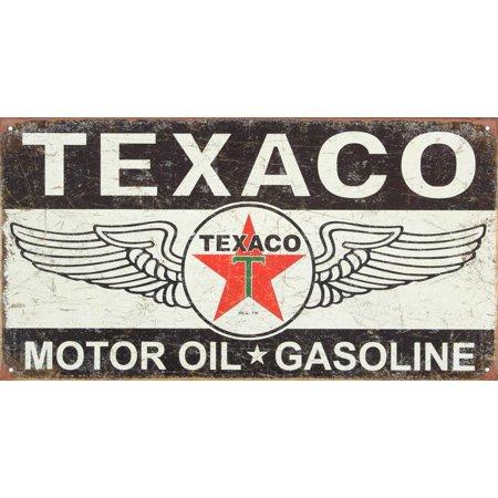 Texaco Winged Logo Distressed Retro Vintage Tin Sign Tin Sign - (Tin Sign Wings)