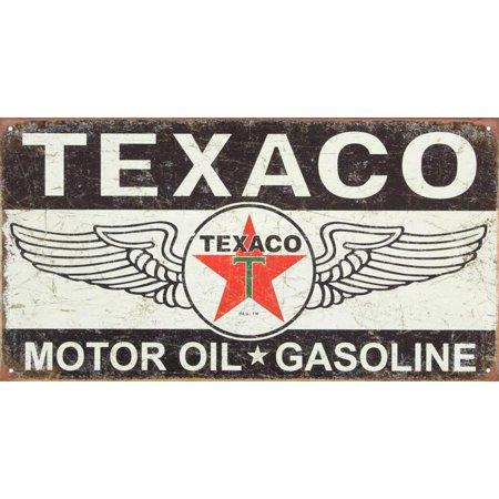 Logo Metal Sign - Texaco Winged Logo Distressed Retro Vintage Tin Sign Tin Sign - 16x8.5