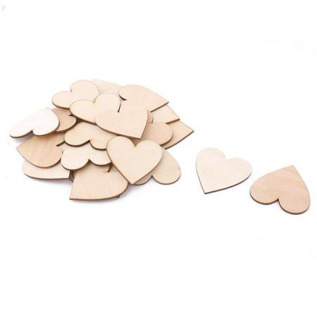 Wooden Love Heart Shaped Art Craft DIY Accessories Beige 60 x 55mm 25 Pcs - Wooden Hearts Crafts