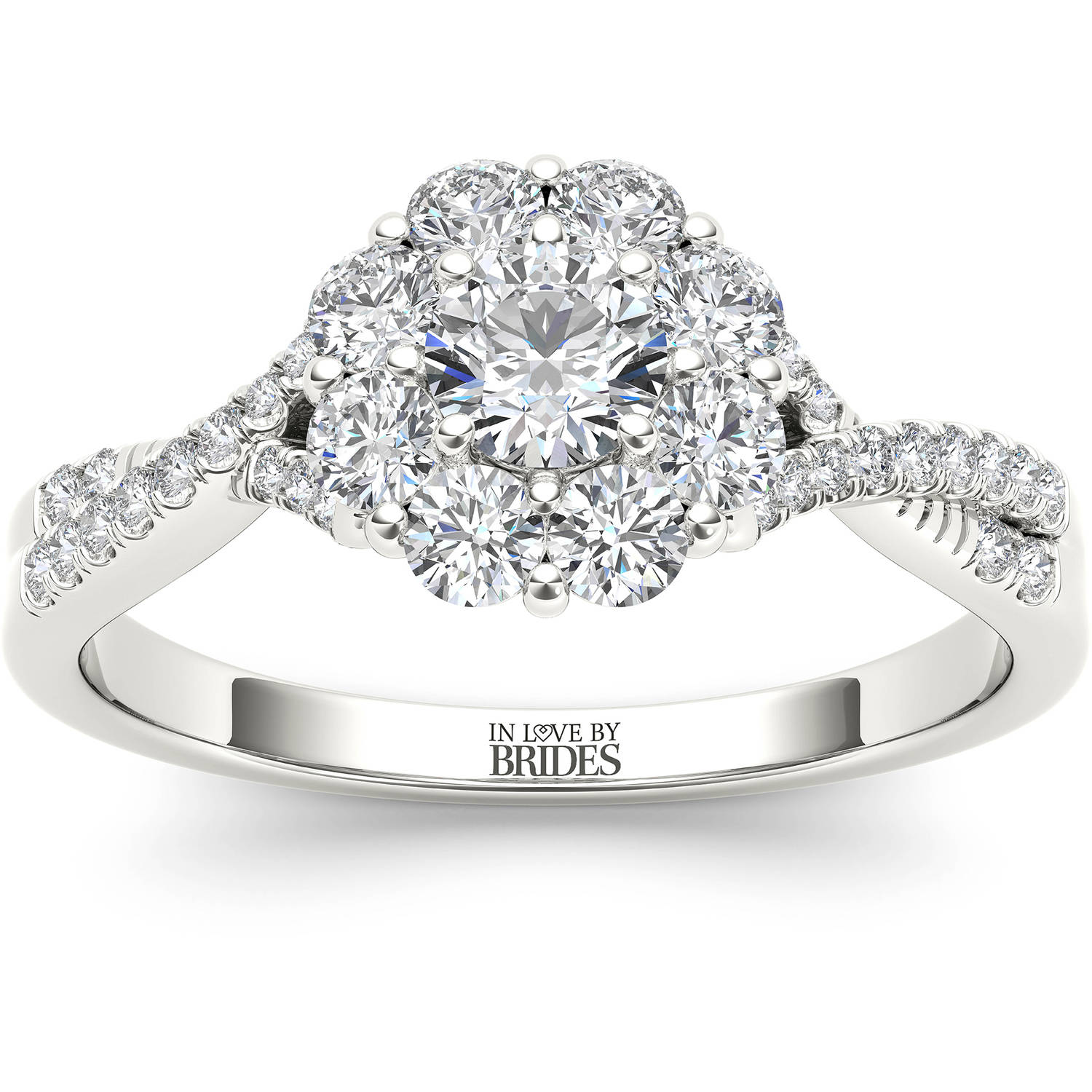IN LOVE BY BRIDES 2 Carat T.W. Certified Flower Burst Diamond 14kt White Gold Engagement Ring