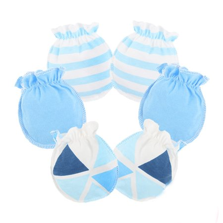- 3 Pairs Baby Infants Soft Cotton Gloves Elastic Rubber Band No Scratch Newborn Toddler Mittens