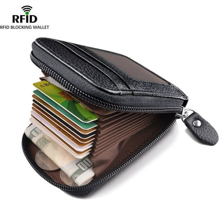 Men's Wallet Genuine Leather Credit Card Holder RFID Blocking Zipper Pocket Hot (Leather Zippered Document Holder)