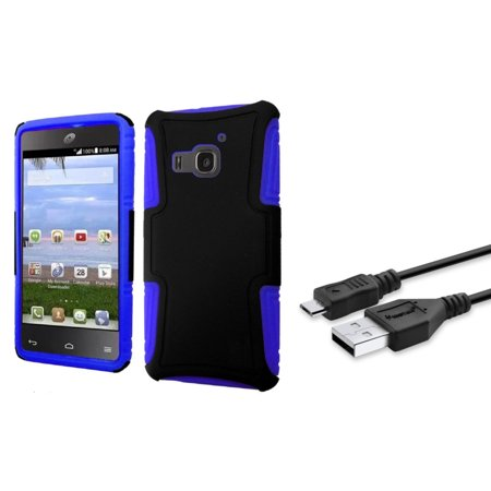Insten Hard Hybrid Plastic Silicone Case For Huawei Magna   Black Blue  With Free Micro Usb Cable