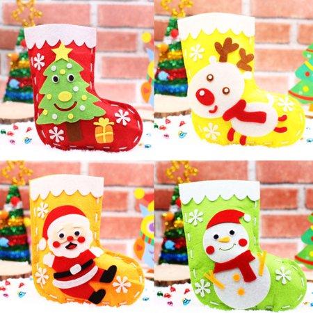 HiCoup Kids DIY Handmade Christmas Tree Santa Claus Snowman Deer Stocking Gift Bag - Diy Stockings