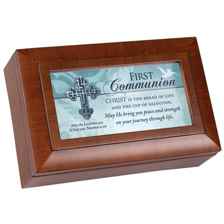 """6"""" Brown and Blue First Communion Petite Music Locket Box"""
