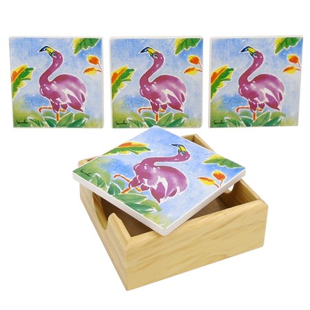 Flamingo Drink Holder (Flamingos and Palm Fronds Drink Coasters Painted Porcelain Set of 4 with)