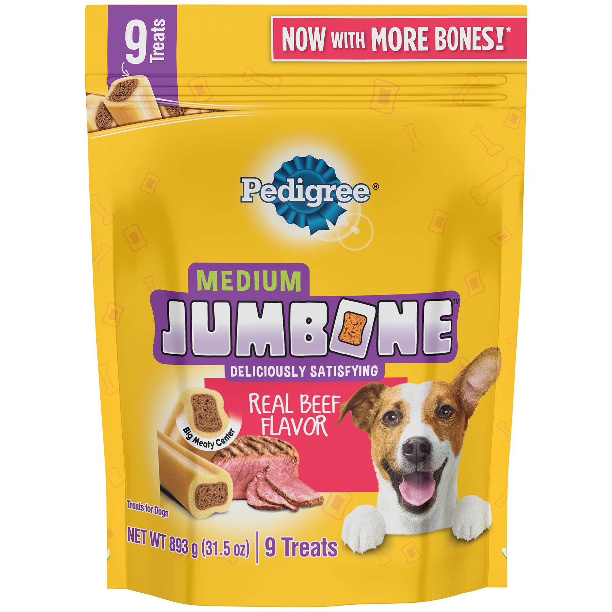 Pedigree Jumbone Medium Breed Adult Dog Treats, Beef, 31.5 Oz (9 Treats)