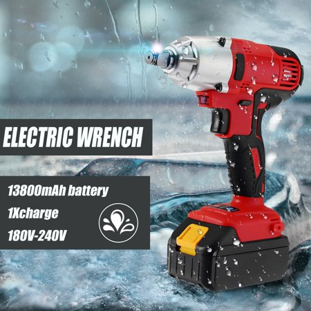 21V Li-Ion Battery 13800mAh Cordless Electric Impact Wrench Torque Drill Rattle Gun with Sockets & LED