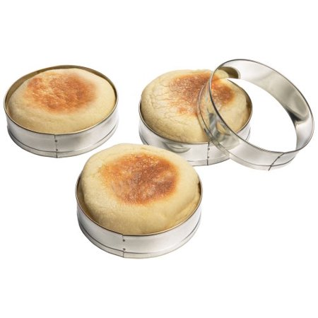 English Muffin Carbohydrates - 4685 English Muffin Rings, Tin-Plated Steel, Set of 4, Pancake Bagel Biscuit Set SET Cutter egg TinPlated Tongs crumpet Pc Toast Rings of OF 3Pack 1inch Pack.., By Fox Run