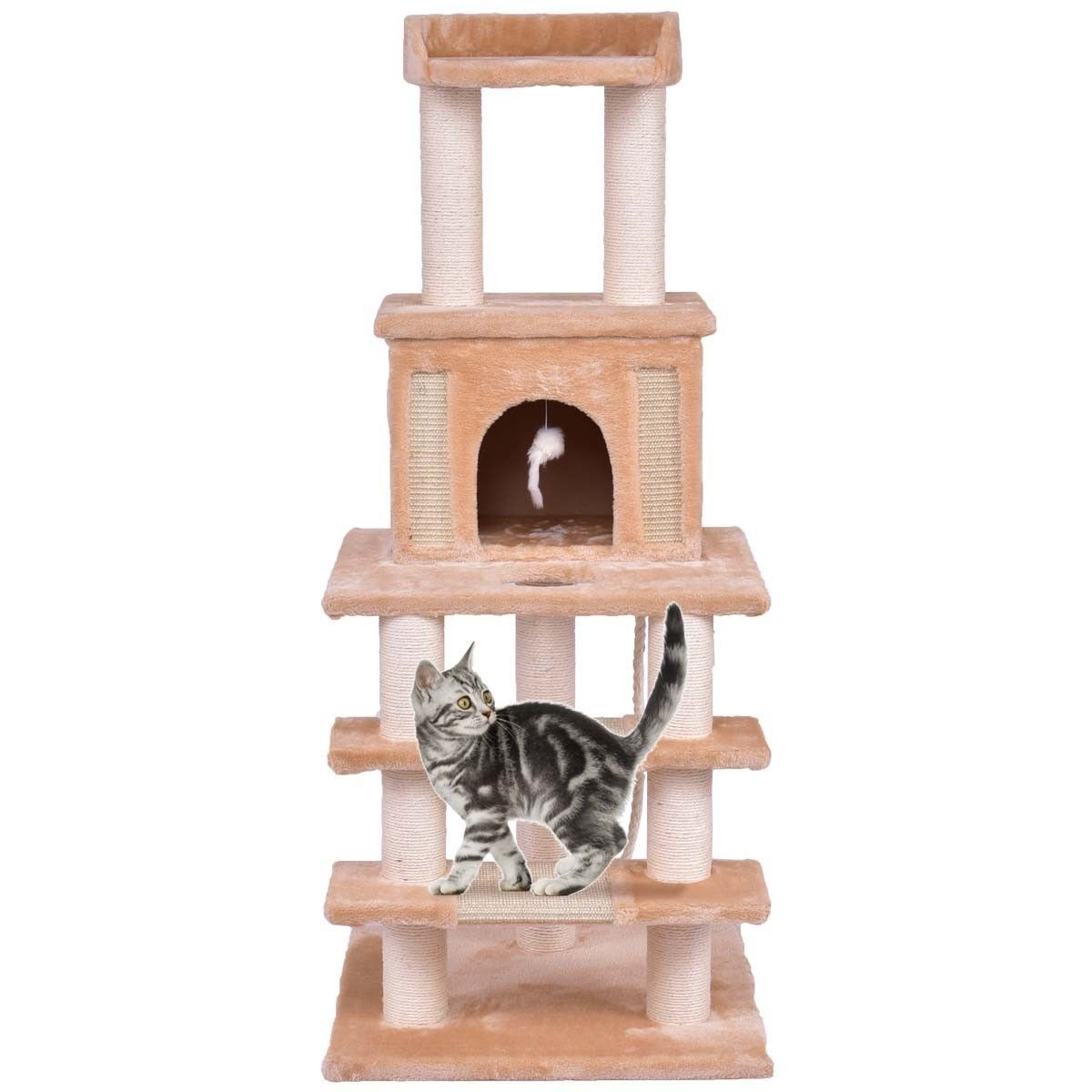 "52"" Cat Tree Pet Kitten Play House Tower Condo Scratching Post w Rope and Mouse by"