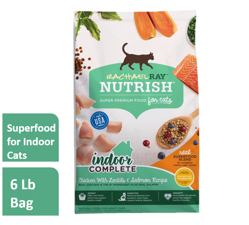 Rachael Ray Nutrish Indoor Complete Natural Dry Cat Food, Chicken with Lentils & Salmon Recipe, 6 lbs