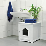 Trixie Pet Wooden Cat Home and Litter Box, White
