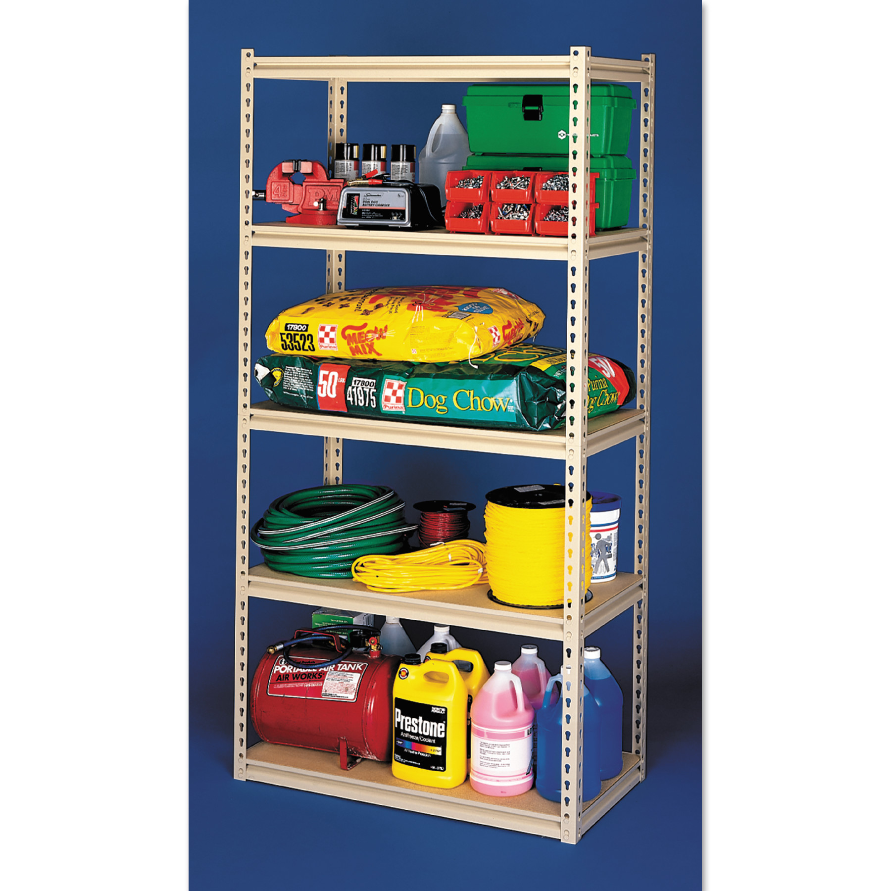 Tennsco Stur-D-Stor Shelving, Five-Shelf, 36w x 18d x 72h, Sand ...