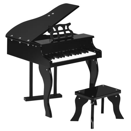 Costway Classic 30 Key baby Grand Wooden Piano Toddler Toy w/ Bench & Music Rack PinkBlack Black Classic Grand Piano