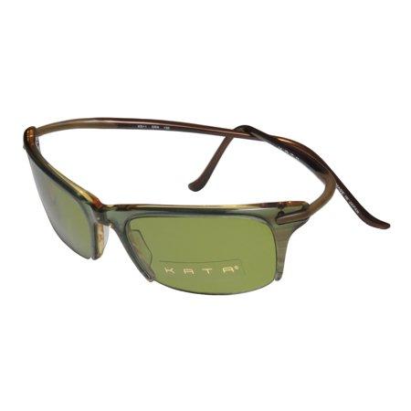New Kata Kd11 Mens/Womens Designer Half-Rim 100% UVA & UVB Khaki / Brown Unique Design High Quality Shades Sunnies Made In Japan Frame Green Lenses 53-19-130 Flexible Hinges Sunglasses/Shades ()