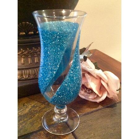 Dainty's Stemware Hurricane Cocktail Glass Light Blue Set of 4
