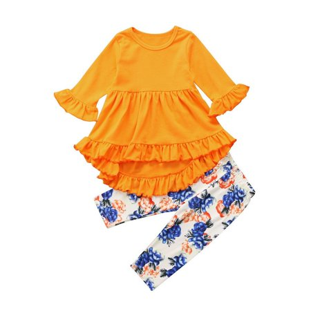New Toddler Girls Kids Tunic Tops Dress Floral Pants Leggings Outfits Set Pants Two Sets Of Pants