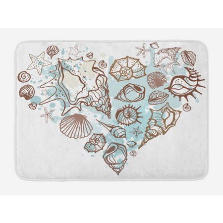 Nautical Bath Mat, Hand Drawn Seashells Scallop Starfish Whelk Ocean Underwater Life Theme, Non-Slip Plush Mat Bathroom Kitchen Laundry Room Decor, 29.5 X 17.5 Inches, Brown Warm Taupe Teal, - Kitchen Theme Decor