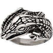 Stainless Steel Antiqued Alligator Ring, Available in Multiple Sizes