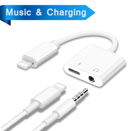 Lightning Adapter Headphone Jack Dongle for iPhone 7/7plus/8/8plus/X/iPad Aux Lightening Adaptor 3.5mm Jack Aux Earphone Connector Compatible Audio Charger Cable Accessories Support iOS11 or