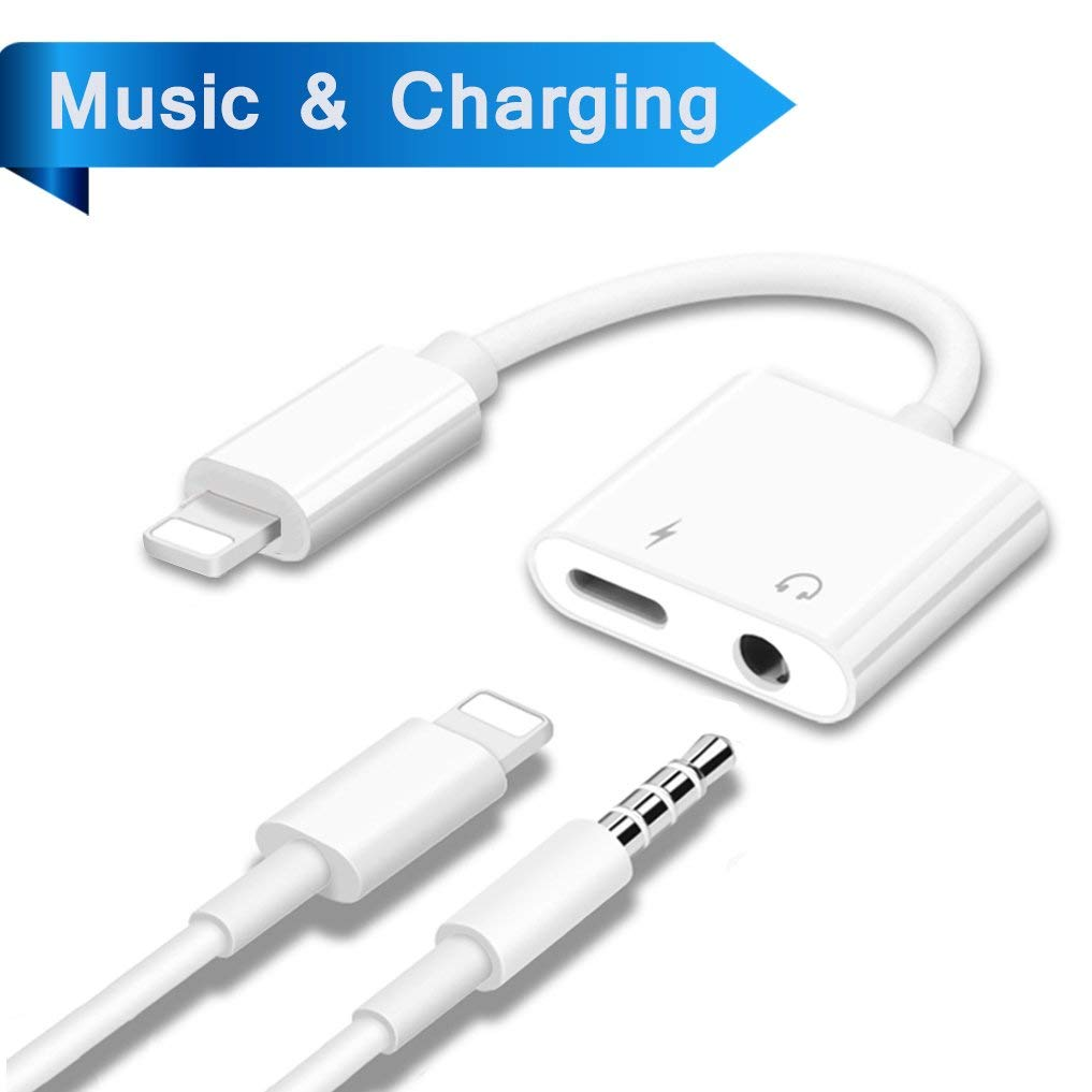 Lightning Adapter Headphone Jack Dongle for iPhone 7/7plus/8/8plus/X/iPad Aux Lightening Adaptor 3.5mm Jack Aux Earphone Connector Compatible Audio Charger Cable Accessories Support iOS11 or Later