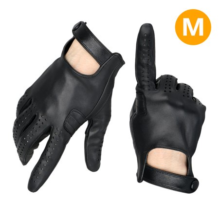 Driving Gloves, EEEKit Unisex Chauffeur Lambskin Sheep Leather Sweat-Free Full Hand Touchscreen Motorcycle Driving Gloves with Snap Button Wrist Strap, Black