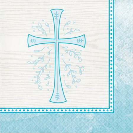 Divinity Blue Cross 16 Ct Lunch Napkins Baptism Confirmation Communion Christening for $<!---->