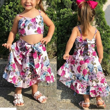 New Summer Kids Toddler Baby Girl Floral Clothes Tops Skirts Long Dress 2Pcs Set](Girls New Clothes)