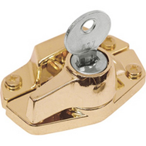 Defender Security U 9927 Window Sash Lock, Keyed, Heavy Duty Diecast, Brass Plated