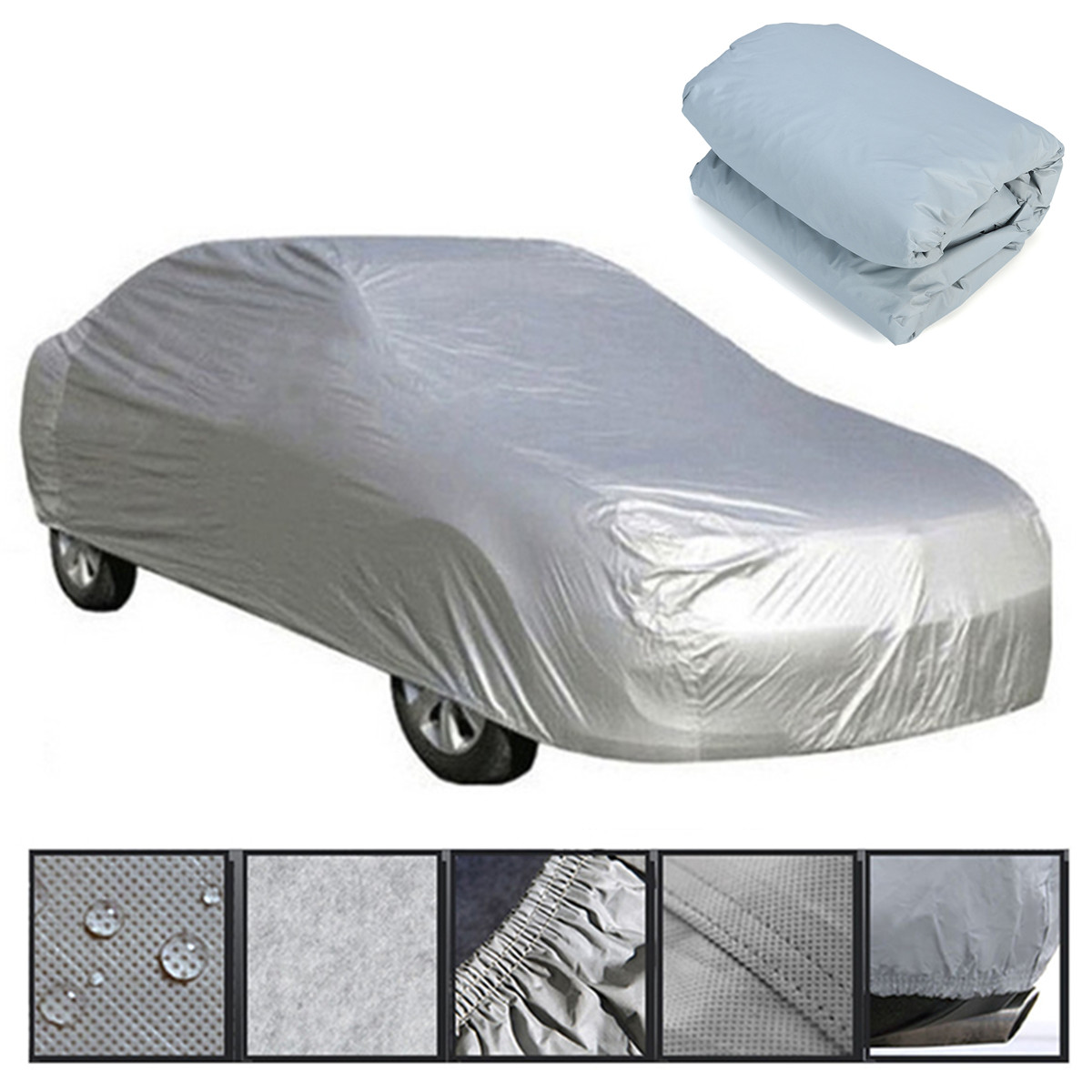 L Full Car Cover Waterproof Sun UV Ray Snow Dust Rain Ice Resistant Protection