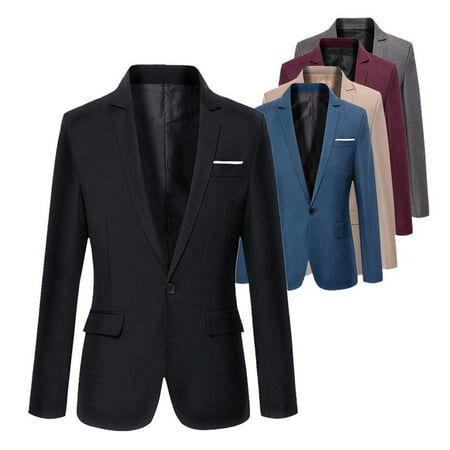 Stylish Mens Casual Slim Fit Formal Single Button Suit Blazer Coat Jacket