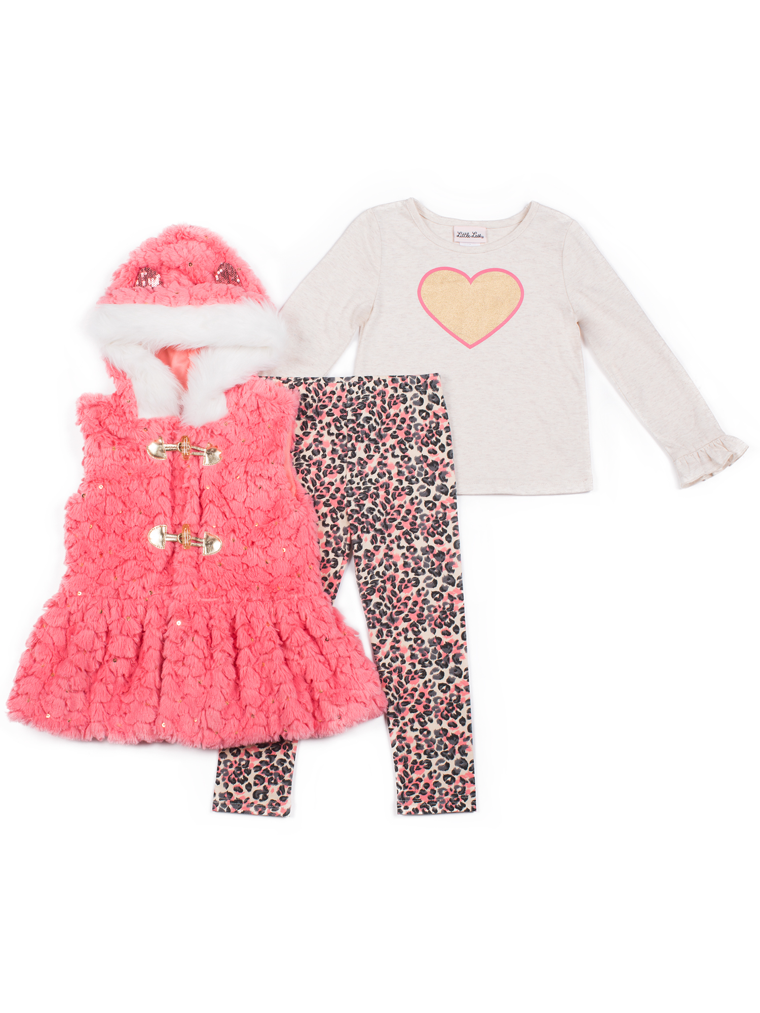 Faux Fur Hooded Vest, Long Sleeve Top & Leggings, 3pc Outfit Set (Baby Girls & Toddler Girls)