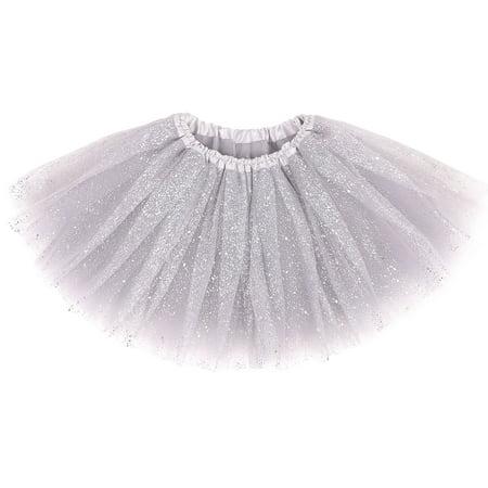 Sparkle Petticoat (Kids 5 Layered Ballet Costume Tutu Skirt Silver_sparkling )