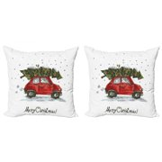 Christmas Throw Pillow Cushion Cover Pack of 2, Red Retro Style Car Xmas Tree Vintage Family Style Illustration Snowy Winter Art, Zippered Double-Side Digital Print, 4 Sizes, Red Green, by Ambesonne