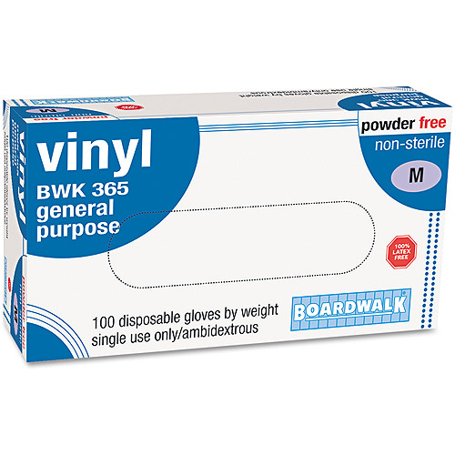 Boardwalk 365M General-purpose Vinyl Gloves, Latex-free, 4 Mils, Medium, Clear, 100/box
