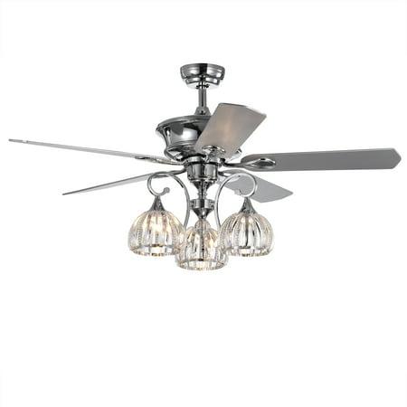 Mavyn 5 Blade 52 Inch Chrome Ceiling Fan With 3 Light Crystal