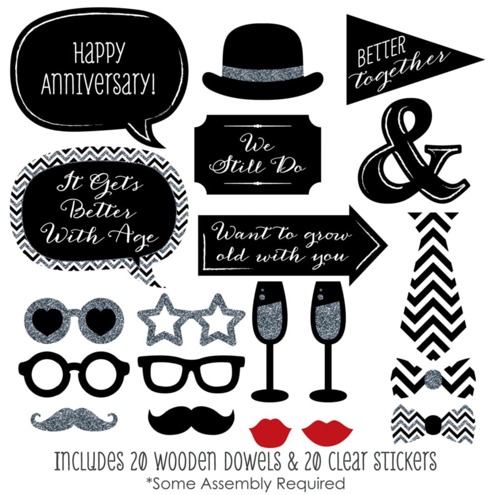 wedding anniversary photo booth props kit 20 count walmart com