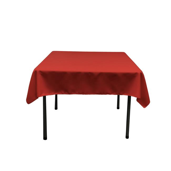 LA Linen TCpop52x52-RedP98 Polyester Poplin Square Tablecloth, Red 52 x 52 in. by LA Linen