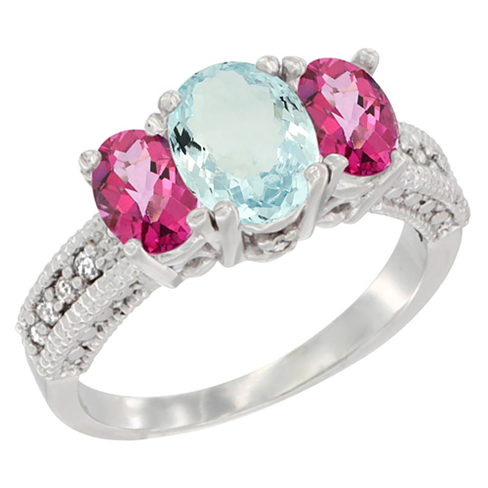 14K White Gold Diamond Natural Aquamarine Ring Oval 3-stone with Pink Topaz, sizes 5 10 by WorldJewels