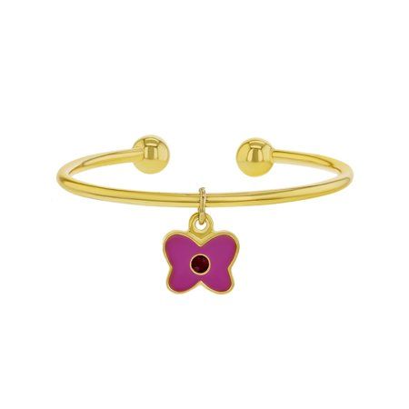 18k Yellow Gold Plated Pink Enamel Butterfly Charm Cuff Girl Bangle