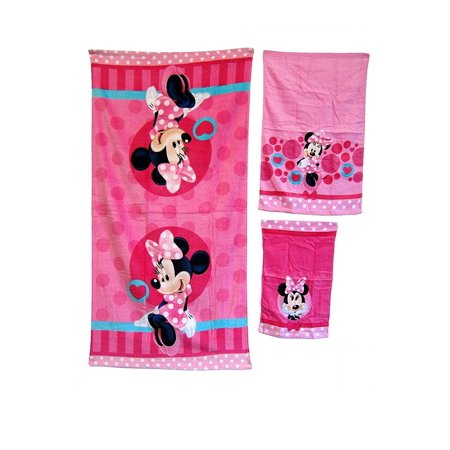 3 Pieces Disney Pixar MINNIE MOUSE 100% Cotton Bath, Hand, and Fingertip Towel Set ()