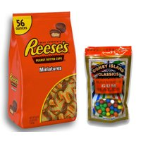 Hershey's Reese's Miniature Peanut Butter Cups, 56 oz. Plus Bonus Rainbow Gumballs Perfect For All Ocassions Halloweeen, Back to school, Thanksgiving, Christmas, Birthdays