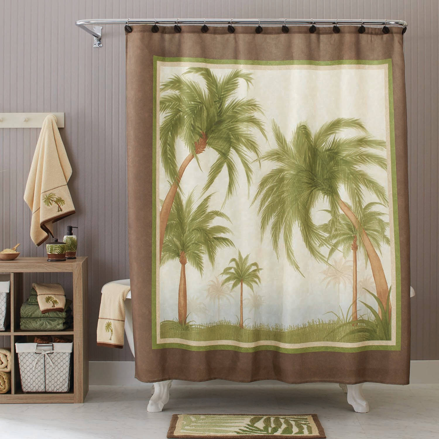 Better Homes And Gardens Palm Cove Fabric Shower Curtain