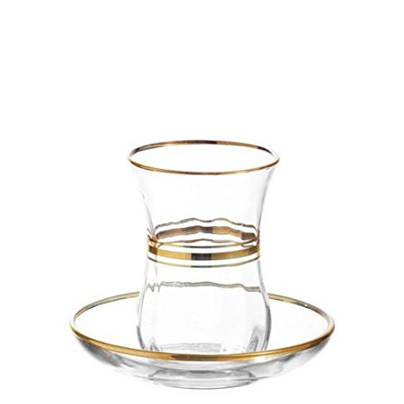 Lavatory Set Lav Set - LAV Elegant Turkish Tea Glasses and Saucers | With Gold Rim and Accents, 4 Ounce Cups with 4 Inch Plates, 12 Piece Set Includes 6 Glasses and 6 Saucers, Made in Turkey