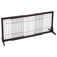 Gymax Slide Wood Dog Gate Pet Fence Playpen Adjustable Indoor Free Stand Safety Solid