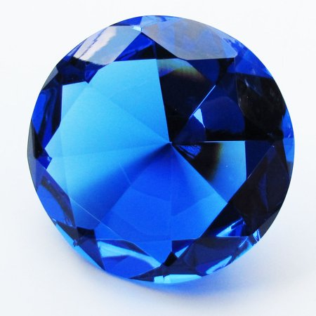 Big 100mm Cobalt Blue 100 mm Cut Glass Crystal Giant Diamond Jewel Paperweight