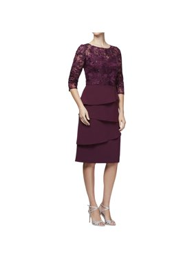 ALEX EVENINGS Womens Purple Sequined Embroidered Tiered 3/4 Sleeve Jewel Neck Knee Length Cocktail Dress  Size: 14