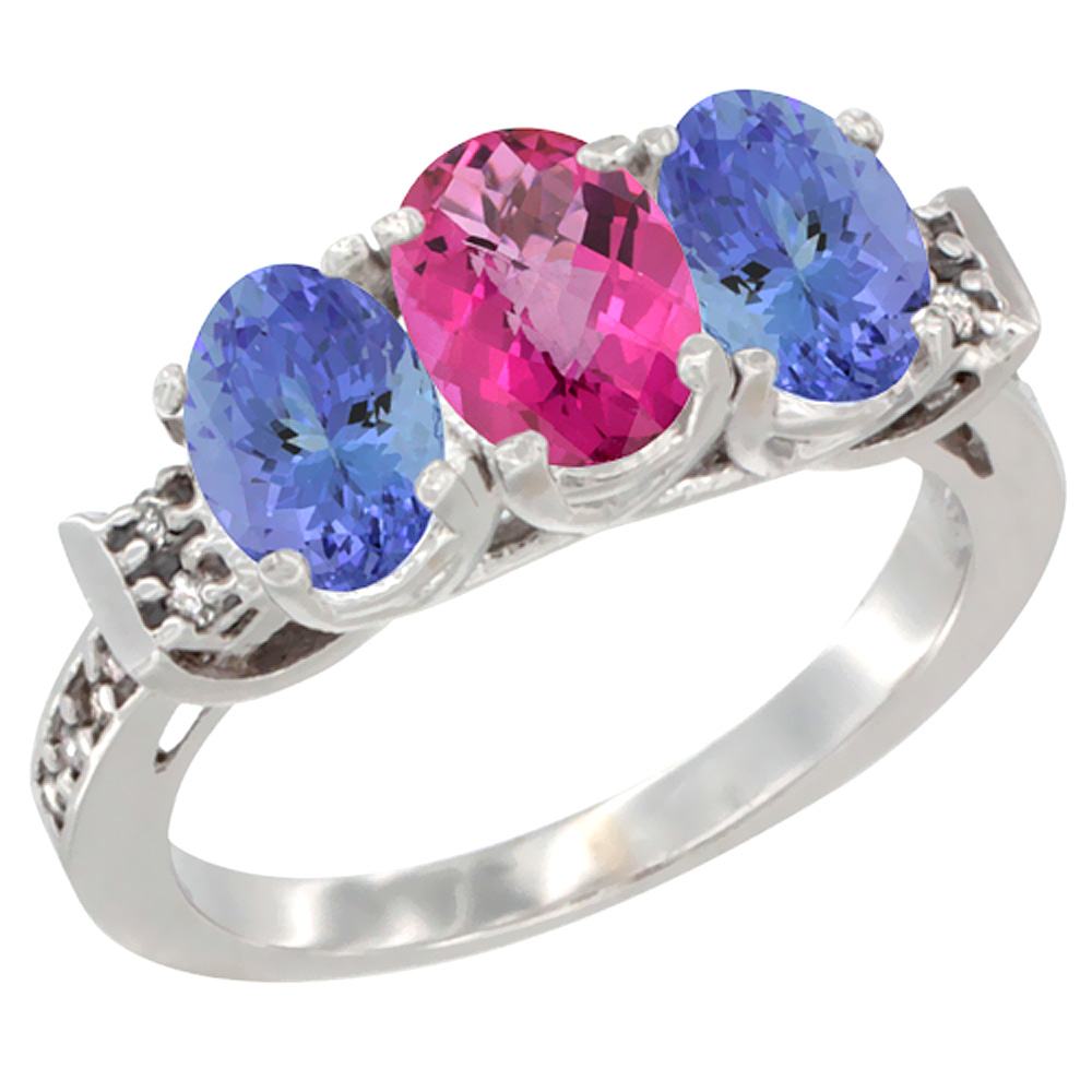 10K White Gold Natural Pink Topaz & Tanzanite Sides Ring 3-Stone Oval 7x5 mm Diamond Accent, sizes 5 10 by WorldJewels
